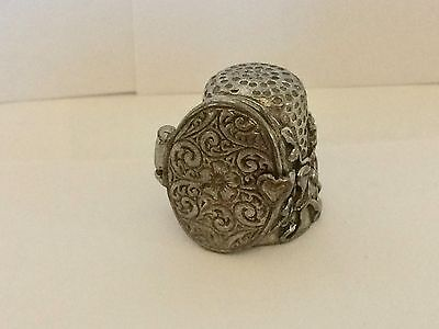 A rather Unusal English Pewter Thimble in the form of a Locket Photo Frame