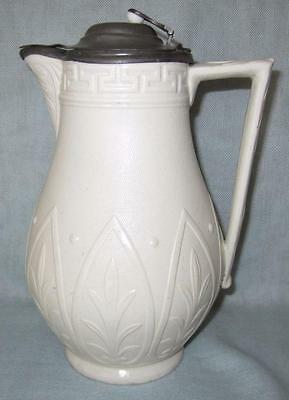 Antique 19Th Century William Brownfield Cobridge Harvest Jug With Pewter Lid