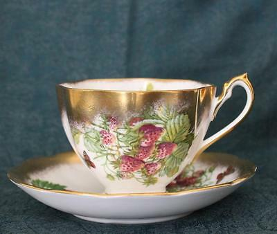 Queen Anne Heavy Gold Trim Fruit Series Cup & Saucer ~ Strawberries ~ Bone China