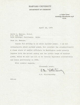 George B. Kistiakowsky - Typed Letter Signed 04/12/1979
