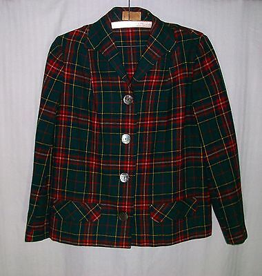 PENDLETON Vintage 50's Unlined Green & Red Plaid Jacket Abalone Buttons