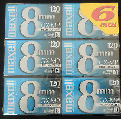 Maxell 8mm GX-MP 120 Videotapes (6-pack)