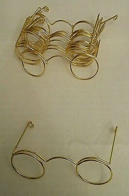 Gold coloured wire spectacles for doll/toy making