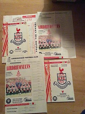 4 X  Airdrie V Dundee Programmes  Teamsheets And Extras
