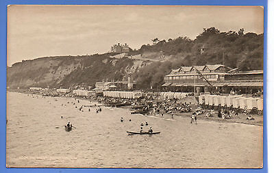 Old Vintage Postcard Looking West Sandown Isle Of Wight Boats Changing Huts