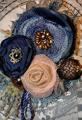 OOAK brooch scarf coat hat scarf PIN corsage smoke blue pink vintage shabby chic