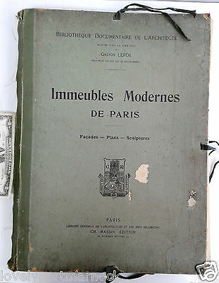 Antique folio Immeubles Modernes de Paris Gaston Lefol Facades Plans Sculpture