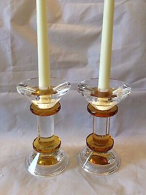 Pair of Heavy Crystal Glass Clear and Amber Candlesticks Taper & Block Holders