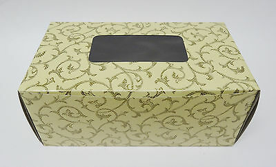 Cake Boxes Half Roll  9 3/4 x 5 1/2 x 4 inches  Pack in 5's  Flat Pack  Cream