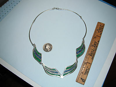 Sterling Silver Turquoise Necklace Inlay Necklace Mexico ALPACA NECKLACE