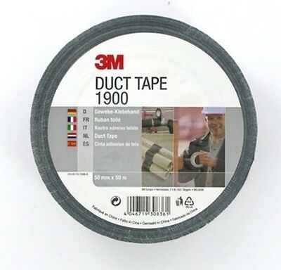 3m Duct Tape 1900 50mmx50m Black Gaffer Cloth Repairs Waterproof