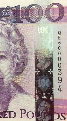 States Of Jersey Uncirculated £100 note. Special Issue. Low number 394.