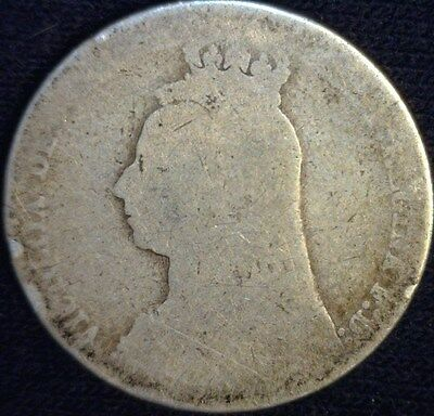 1890 (UK) Great Britain Silver Shilling - Worn - (KM# 774)  - BE1