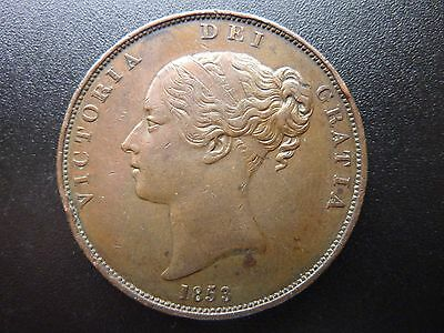 1853 Young Head Victorian Penny, Good Detail