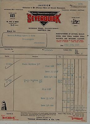 Sheffield  Tool  Manufacturers  Invoice.