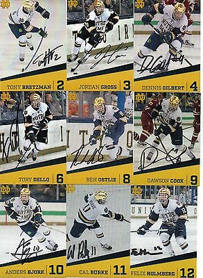2016-17 Notre Dame Hockey Auto Autographed Team Signed Trading Card Set! Rare!