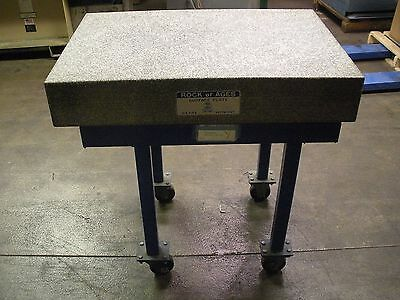 """Rock of Ages Surface Plate 24"""" x 36"""" x 6"""" Granite Plate W/ Wheeled Stand .000170"""