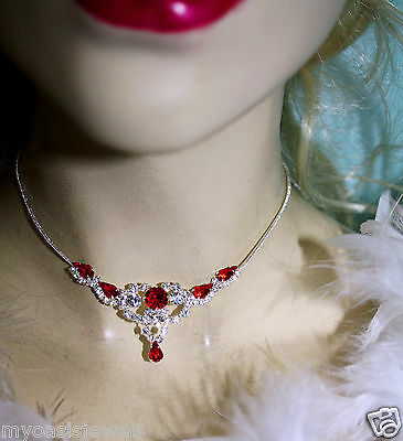 Wholesale Jewerly Lot Red Rhinestone Necklace Earring 24 Sets Prom Bridal