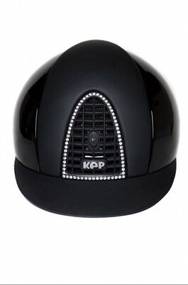 KEP RIDING HAT CROMO T 55- 58cm BLACK POLISH BLACK GRID Chrome Surround ...SALE!