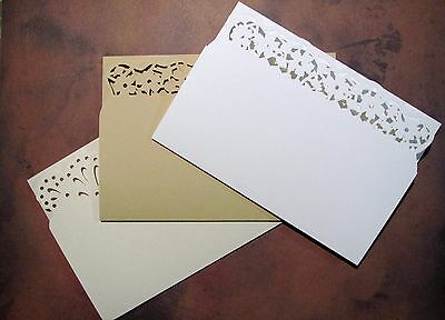 CARD SET OF 3 – WHITE/ALMOND/WALNUT with envelopes 6 x 4 with fancy edge