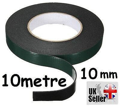 10m Strong10mm Waterproof Adhesive Double Sided Foam Tape For Car Trim home UK