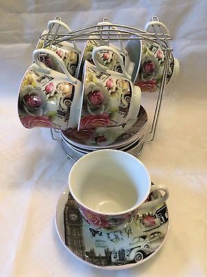 "Pink  Rose and Butterflies 5.5"" Saucers 6 and 6 Cups with Stand D.G. China"