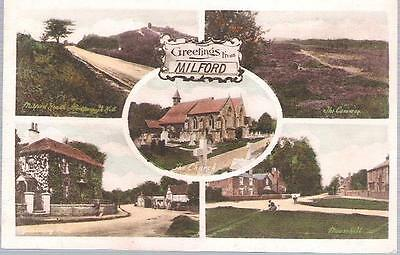 Milford, Surrey - Friths multiview postcard incl Mouse Hill, church etc. c.1920s