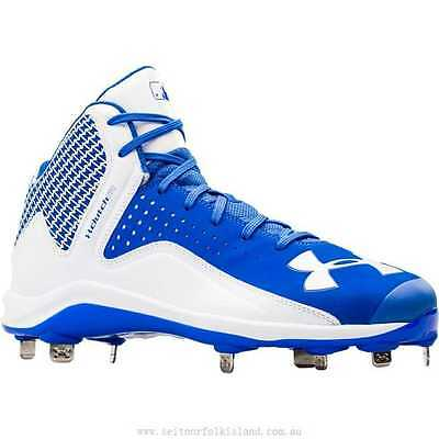 Under Armour Yard Mid ST Baseball Cleats Blue White 1250043 SAMPLES A3