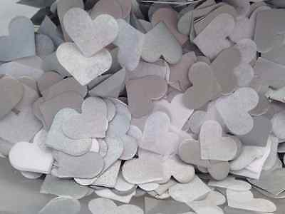1500 Handmade Tissue Paper Heart Confetti SILVER AND WHITE Wedding Vintage