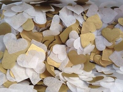 1200 Handmade Tissue Paper Heart Confetti GOLD AND IVORY Wedding Vintage
