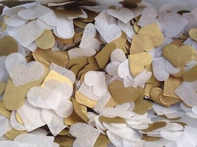 1500 Handmade Tissue Paper Heart Confetti GOLD AND IVORY Wedding Vintage