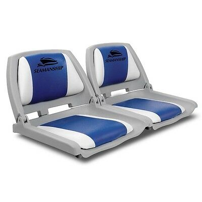 NEW 2x Swivel Base Folding Marine-grade Fishing Padded Boat Seats - White/Blue