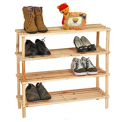 Pine Wood Free Stand 4 Tiers Shoe Organiser Storage Rack Stand Display Stand