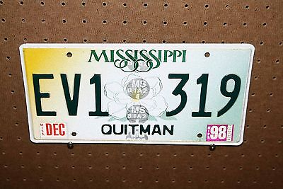 1998 - Mississippi - License Plate - Ev1 319 - Quitman County