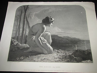 Romantic Antique Engraving c1870-Henry Le Jeune 'The Hindoo Maiden' after Poem