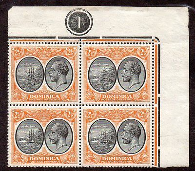 Dominica, Sc. #71. Block of 4. 3-MNH, 1-MH. HS020.