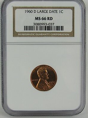 1960-D Large Date Lincoln Cent Ngc Ms66Rd