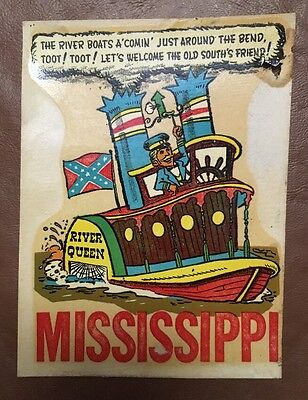 Confederate MISSISSIPPI 1950s Car Decal Waterslide River Queen Steamboat South