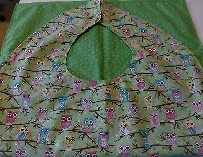 Adult Bibs / cover-ups for adults, seniors, disabled/ bibs; Owls in Bright Color