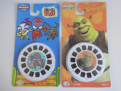 2 Pack Lot VIEW MASTER Toy 3D REELS - Shrek 2 + Mucha Lucha