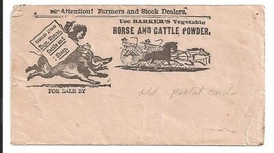 vintage Barkers horse cattle hogs sheep vegatable powder postal card cover