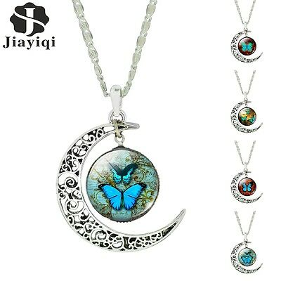 Fashion Silver Butterfly Glass Cabochon Crescent Moon Pendant NecklacesValentine