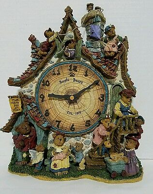 """The Boyds Bears Collector Clock """"Time Waits for No Bear"""" Works"""