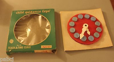 Teach-A-Time Clock - Child Guidance Toys - Vintage in Box - Ages 4-7 - Plastic