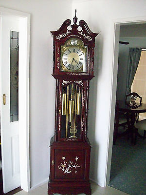 Antique Rosewood Grandfather clock inlaid with mother of pearl
