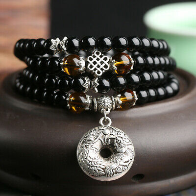 6mm Stone Buddhist Black Glaze 108 Prayer Beads Mala Bracelet/Necklace Gifts New