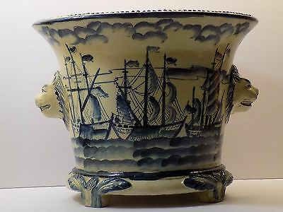 BIG Antique French NAUTICAL CHINOISERIE FAIENCE Blue White Cache Pot Jardiniere