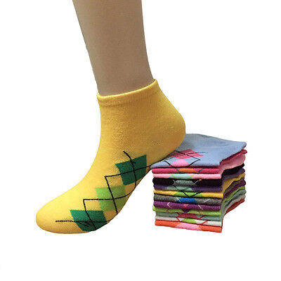 Lot 12 Pairs Womens Multi Color Girls Low Cut Ankle Socks Cotton New Size 9-11