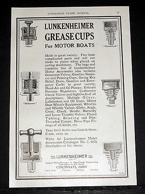 1914 Old Magazine Print Ad, Lunkenheimer, Grease Cups For Motor Boats, Primo!