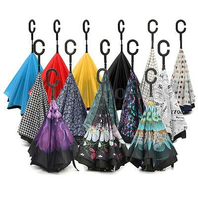 Windproof C-Handle Double Layer Inverted Reverse Hand-free Upside Down Umbrella